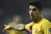 Utkání 3. kola základní skupiny F fotbalové Ligy mistrů Slavia Praha - FC Barcelona 23. října 2019 v Praze. Luis Suárez z Barcelony.