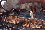 Malba zachycující výjev Odyssea se sirénami