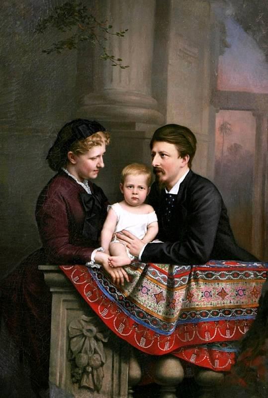 Malý Pedro se svými rodiči, brazilskou princeznou Isabel a francouzským a brazilským princem Gastonem Orleánským