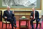 Miloš Zeman při jednání s Vladimírem Putinem.