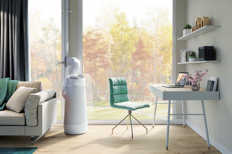 Díky válcovitému tvaru mobilní klimatizace Electrolux AirFlower je distribuce vzduchu v místnosti maximálně efektivní a rovnoměrná.