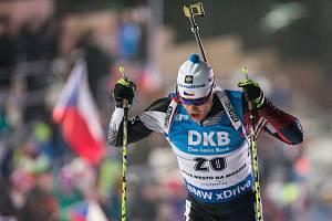 Závod SP v biatlonu ve sprintu na 10 km mužů v Novém Městě na Moravě. Michal Krčmář.