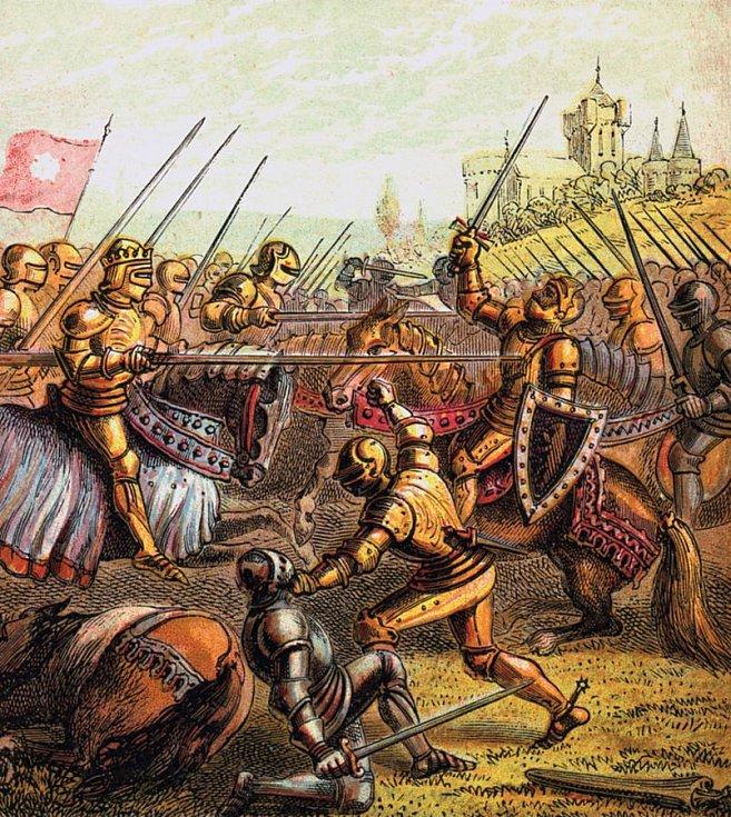 Barevná kresba zachycující bitvu u Tewkesbury z knihy Obrazy z anglických dějin, vydané kolem 1850