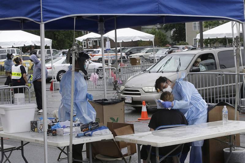 Odběrové místo pro testování na koronavirus v americkém Bostonu