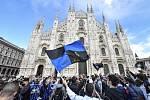 Oslavy. Fanoušci Interu Milán vyrazili v neděli do ulic. Brzy je policie rozehnala