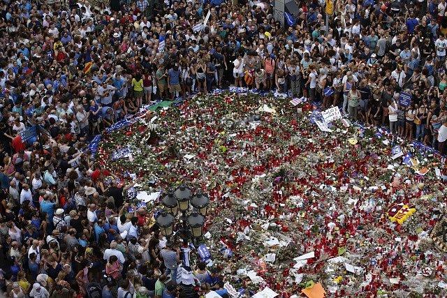 Demonstrace proti terorismu v Barceloně.