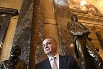 Bývalý slovenský prezident Andrej Kiska při návštěvě Národního muzea v Praze