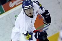 Rostislav Olesz na tréninku české hokejové reprezentace.