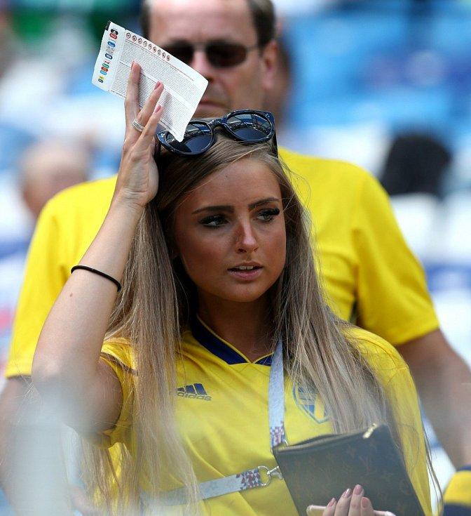 Švédská fanynka. Fotbalové MS Rusko 2018
