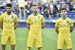 Fotbalisté Ukrajiny v typických žlutých dresech národního týmu.