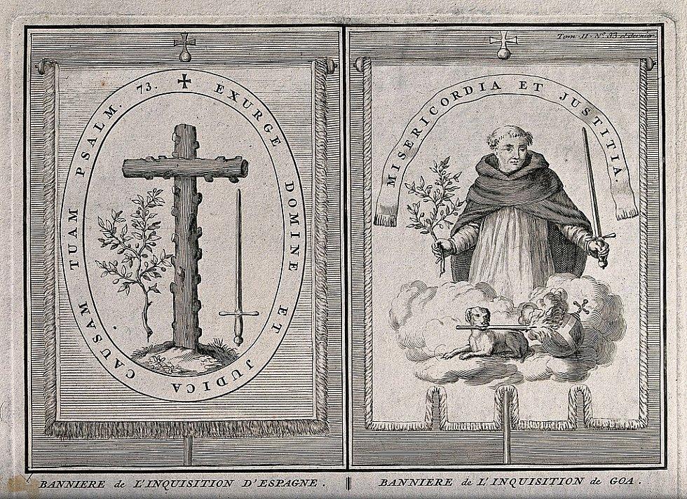 Vlevo praporec španělské inkvizice, s níž měl problémy i Giordano Bruno. Vpravo praporec inkvizice portugalské