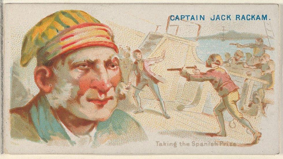 Kapitán Jack Rackham na obalu značky cigaret Allen & Ginter. Bojová scéna zachycuje převzetí španělské lodi