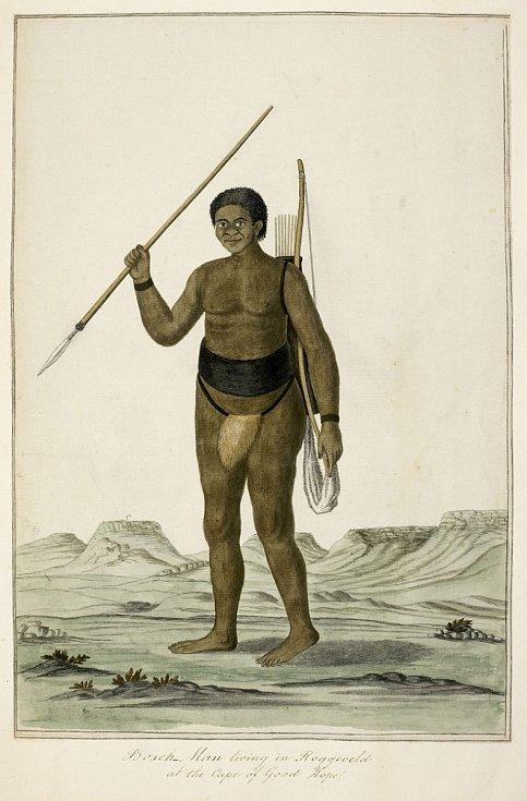 Historické zobrazení křováckého lovce s lukem a šípy