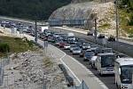 Kolona na dálnici v Chorvatsku.