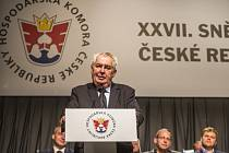 27. sněm Hospodářské komory ČR probíhal 28. května v Praze.  Prezident Miloš Zeman.