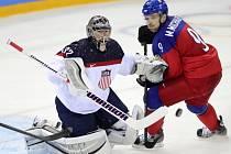 Milan Michálek (vpravo) se snaží prosadit proti USA.