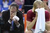 Aktéři incidentu: rozhodčí Arnaud Gabas (vlevo) a tenista Denis Shapovalov.