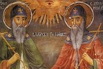 Cyril a Metoděj na nástěnné malbě v Trojanském klášteře v Bulharsku