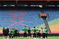Fotbalisté Jablonce při tréninku na stadionu Ajaxu