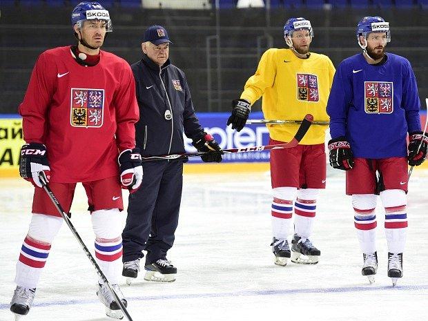 Jan Kolář (vlevo) na tréninku reprezentace