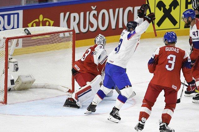 Brankář Pavel Francouz inkasuje gól od Slovenska.