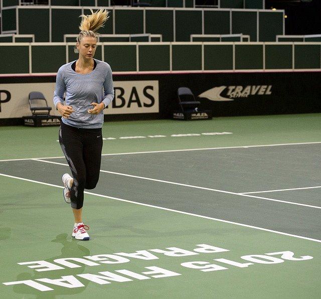 Maria Šarapovová před finále Fed Cupu v Praze