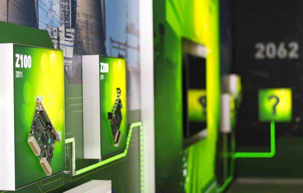 Showroom ZAT ve výrobním závodě vPříbrami sukázkou řídicích systémů pro energetiku a průmysl, které firma vyvíjí od roku 1962