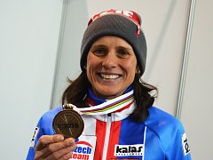 Mistrovství světa v cyklokrosu – Bieles, Lucembursko. Závod žen. Bronzová Kateřina Nash.
