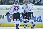 Hokejisté Liberce (zleva) Branko Radivojevič, Radim Šimek a Michal Bulíř se radují z gólu.