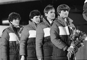 stříbrná československá štafeta na ZOH v Sarajevu (Gabriela Svobodová druhá zleva)
