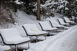 I na lavičkách se sněhovou čepicí je vidět, že Zoo zeje prázdnotou.