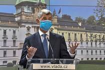 Premiér Andrej Babiš (ANO) hovoří na tiskové konferenci po schůzi vlády 15. června 2020 v Praze