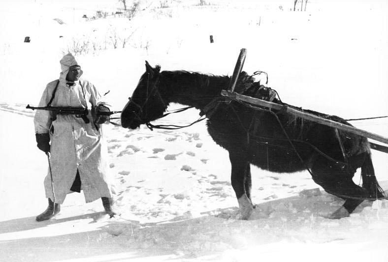 Německý povoz v ruské zimě, 1941