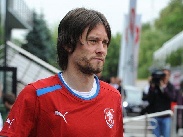 Tomáš Rosický na tréninku české reprezentace.