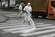Dezinfekce ulice v  Budapešti