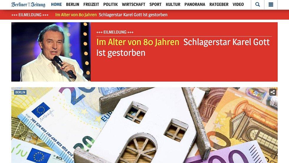 Berliner Zeitung zařadil zprávu o úmrtí Karla Gotta na první místo