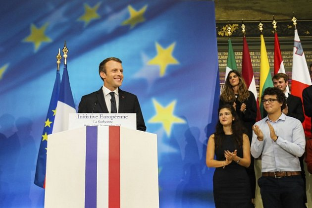 Emmanuel Macron na pařížské Sorbonně