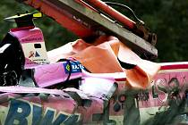 Zničený automobil Anthoine Huberta, který zahynul při závodě Formule 2.