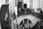 Francouzský prezident Charles de Gaulle při setkání s německým spolkovým kancléřem Konradem Adenauerem v roce 1962