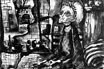 """Žena hrající karetní hru """"Solitaire"""" v terezínském ghettu"""