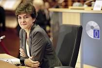 Navržená francouzská eurokomisařka pro vnitřní trh Sylvie Goulardová v Evropském parlamentu