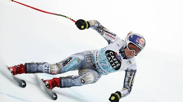 Česká lyžařka Ester Ledecká na trati sjezdu v Crans Montaně.