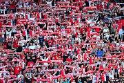 Fotbalové utkání Fortuna ligy mezi celky SK Slavia Praha  a MFK Karviná 28. července v Praze. Fanoušci Slavie.