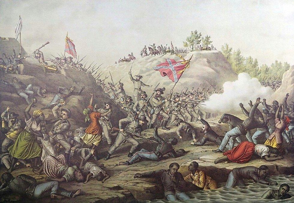 Masakr v pevnosti Fort Pillow. Konfederační jednotky popravily 300 vzdávajících se unijních vojáků, povětšině Afroameričanů. Jde o jednu z nejkontroverznějších událostí americké občanské války.