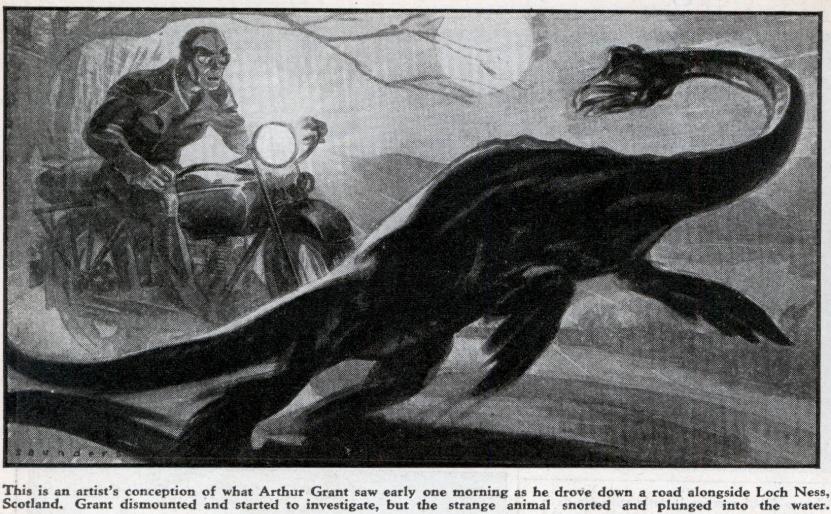 Jedna z ilustrací bájné příšery z jezera Loch Ness od Artura Granta z roku 1934