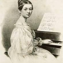 Clara Wiecková na litografii z roku 1835