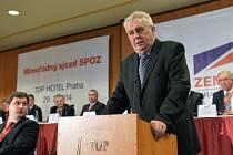 Prezident Miloš Zeman při projevu na mimořádném sjezdu Strany práv občanů - zemanovců (SPOZ) 29. března v Praze.