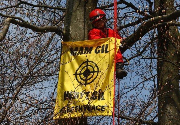 Aktivisté Greenpeace obsadili vojenský prostor v Brdech, kde protestovali proti umístění radarové základy na českém území. Na místě vztyčili i totem svobody.