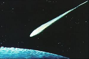 Umělecká představa meteoru s velkou silou, podobného, jaký mohl zničit i město Tall el Hammam