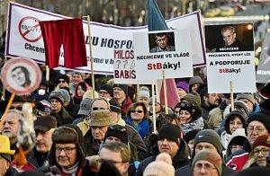 Na Václavském náměstí v Praze se 25. února konala demonstrace za svobodu, demokracii a svobodné podnikání.